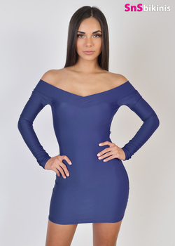 MARBELLA Sexy Shoulder Lycra Party Dress